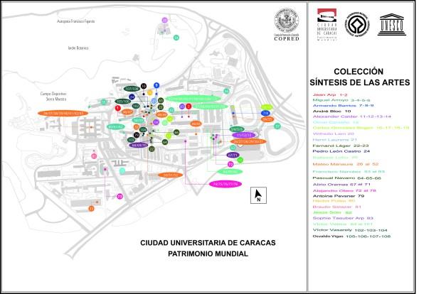 Plano de ubicación de las Obras de Arte de la Ciudad Universitaria de Caracas. Referencia: Plano de Ubicación de las Obras de Arte de la Ciudad Universitaria de Caracas. Elaborado por Shyrley Pineda.