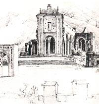 Ferdinand Bellerman, 1845. Ruinas de la iglesia de la Santísima Trinidad luego del terremoto de 1812.