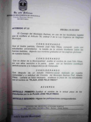 Cambio de de nombre a José Félix Ribas.