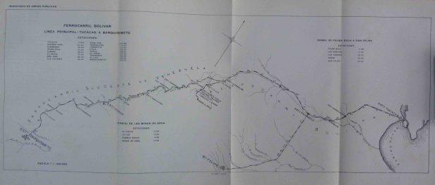 Plano del ramal de Palmasola a San Felipe, del Ferrocarril Bolívar. Foto Ernesto Roa @RielesVenezuela.zuela.