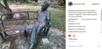 El post de Instagram donde se alerta del acto vandálico contra las esculturas de Febres Coredero y Gabriel García Márquez, el 7 de junio de 2017.