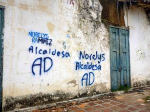 Paredes vandalizadas con pintas políticas. Foto Marinela Araque, mayo 2017.
