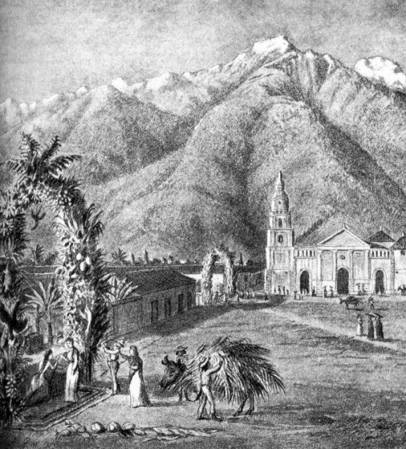 La plaza Bolívar de Mérida, Venezuela, en 1869.