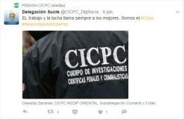 Tuit del CICPC el 7 de junio de 2017, el mismo día en que destrozaron el grupo escultórico de Febres Cordero y el Gabo.
