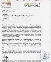 Oficio del Departamento de Patrimonio Cultural de la municipalidad, de fecha 19 de febrero del 2010. Parque Los Mangos, Barinas, Venezuela.