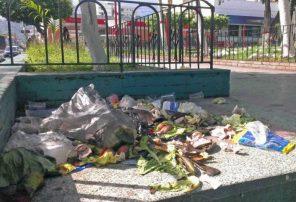 """Una solitaria empleada """"eventual"""" se encarga de la limpieza de la plaza Bolívar de Valera, con obvios resultados. Alerta patrimonio cultural de Venezuela."""