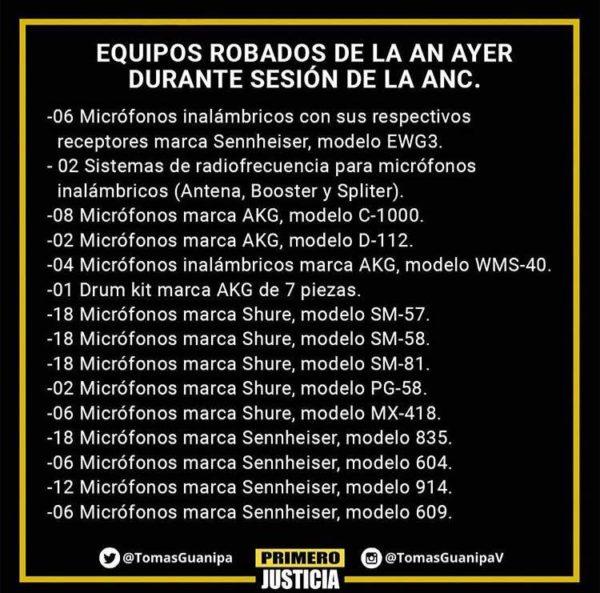 Equipos robados, según el partido Primero Justicia. Palacio Federal Legislativo, patrimonio cultural venezolano en peligro.
